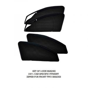 Magnetic Zipper Sun Shades Car Curtains for Maruti Swift 2nd Generation (Set of 4)